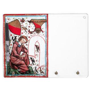 POET IN THE GARDEN OF BIRDMONOGRAM white red gem Dry Erase Board With Keychain Holder