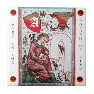 POET IN THE GARDEN OF BIRDMONOGRAM white red gem Tile