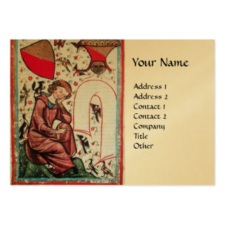 POET IN THE GARDEN OF BIRDS gold Large Business Cards (Pack Of 100)