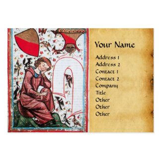 POET IN THE GARDEN OF BIRDS parchment Large Business Cards (Pack Of 100)