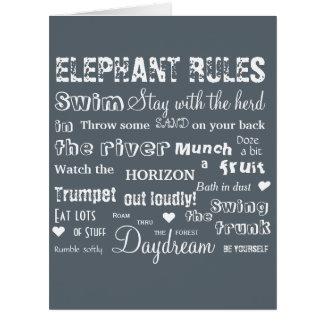 Poetic Elephant Rules Typographic Card