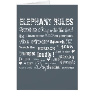 Poetic Elephant Rules Typographic Notecard