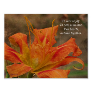 Poetic Love Tiger Lily Photo Poster