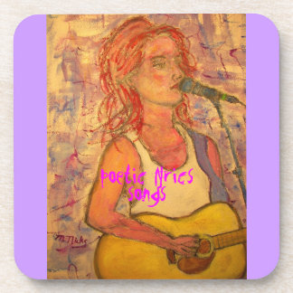 poetic lyrics & song girl art coaster