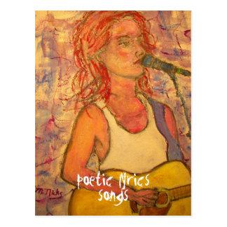 poetic lyrics & song girl art postcard