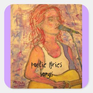 poetic lyrics & song girl art square sticker