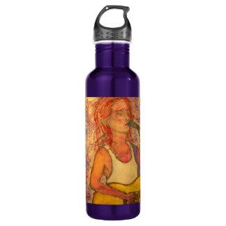 poetic lyrics & song girl art water bottle