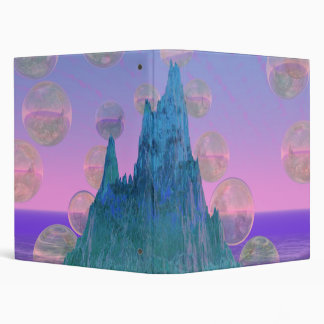 Poetic Mountain, Abstract Magic Teal Pink 3 Ring Binder