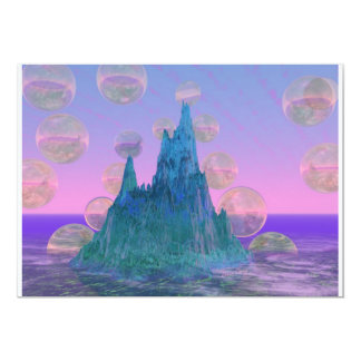 Poetic Mountain, Abstract Magic Teal Pink Cards