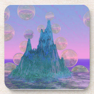 Poetic Mountain, Abstract Magic Teal Pink Drink Coaster
