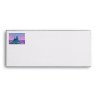 Poetic Mountain, Abstract Magic Teal Pink Envelope