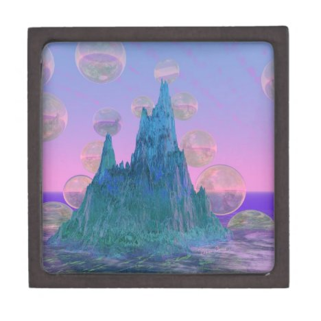 Poetic Mountain, Abstract Magic Teal Pink Gift Box