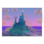 Poetic Mountain, Abstract Magic Teal Pink Greeting Card
