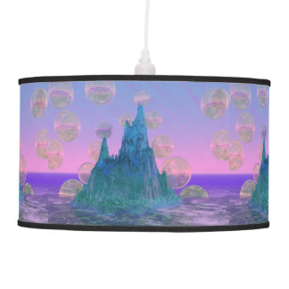 Poetic Mountain, Abstract Magic Teal Pink Hanging Lamp