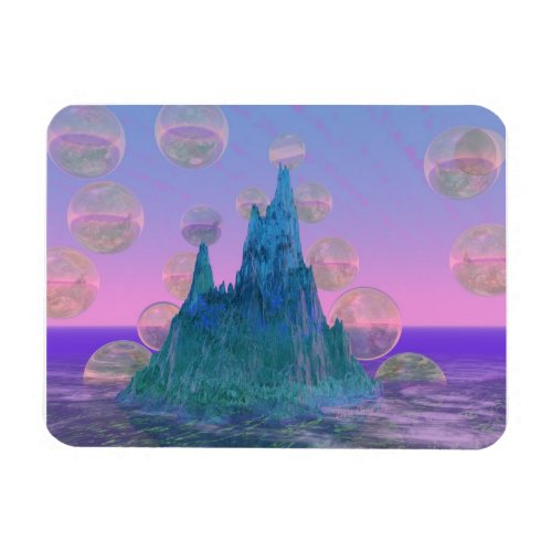 Poetic Mountain, Abstract Magic Teal Pink Magnet