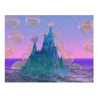 Poetic Mountain, Abstract Magic Teal Pink Postcard