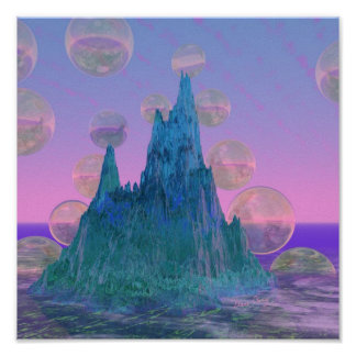 Poetic Mountain, Abstract Magic Teal Pink Poster