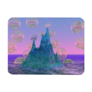 Poetic Mountain, Abstract Magic Teal Pink Rectangular Photo Magnet