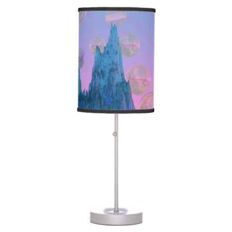 Poetic Mountain, Abstract Magic Teal Pink Table Lamp