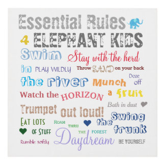 Poetic Rainbow Color Elephant Kid Rules Typography Panel Wall Art