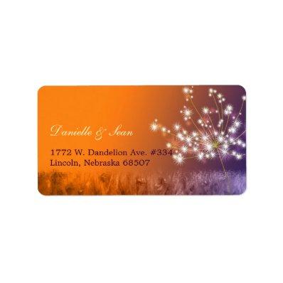 Poetic Twilight Dandelion Floral Wedding Label