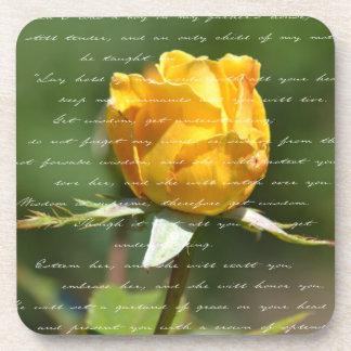Poetic Yellow Rose Coaster