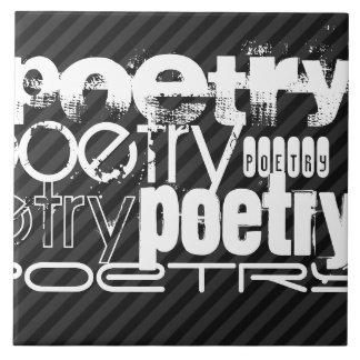 Poetry; Black & Dark Gray Stripes Large Square Tile