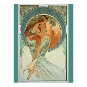Poetry by Alfons Mucha - Art Nouveau Postcard