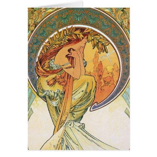 """POETRY from the series """"The Arts"""" by Mucha Greeting Card"""