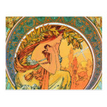 """Poetry from the series """"The Arts"""" by Mucha Postcard"""