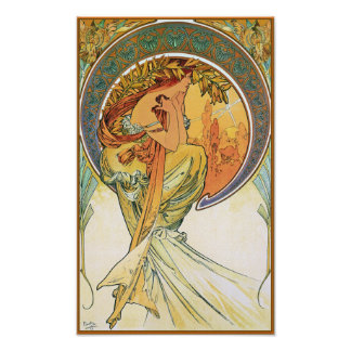 "POETRY from the series ""The Arts"" by Mucha Poster"