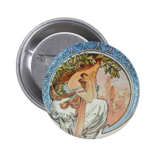Poetry, Mucha Pinback Buttons