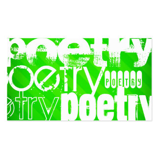 Poetry; Neon Green Stripes Business Card