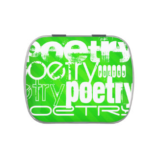 Poetry; Neon Green Stripes Jelly Belly Tin