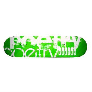 Poetry; Neon Green Stripes Skateboard Deck