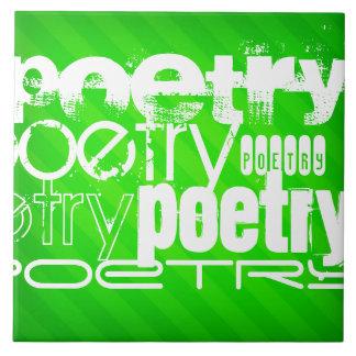 Poetry; Neon Green Stripes Ceramic Tiles