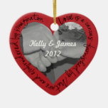 Poetry Photo Ornament - Red Heart