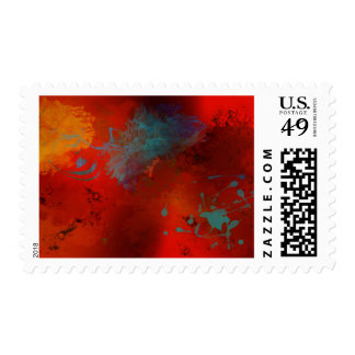 """Poet's Fancy"" Red Black Teal & Gold, Abstract Art Postage"