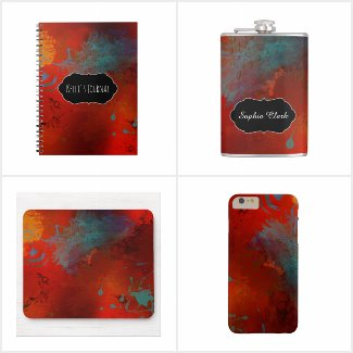 """""""Poet's Fancy"""" Red, Gold, Teal Grungy Abstract"""
