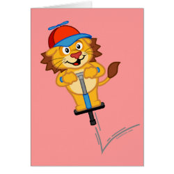 Greeting Card with Pogostick Lion design