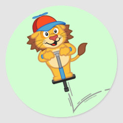 Round Sticker with Pogostick Lion design