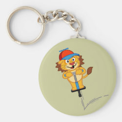 Basic Button Keychain with Pogostick Lion design