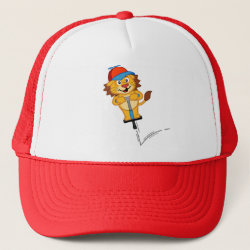Trucker Hat with Pogostick Lion design