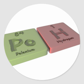 Poh as Po Polonium and H Hydrogen Classic Round Sticker