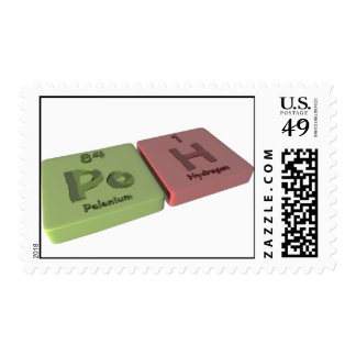 Poh as Po Polonium and H Hydrogen Postage Stamp