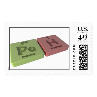 Poh as Po Polonium and H Hydrogen Postage Stamps