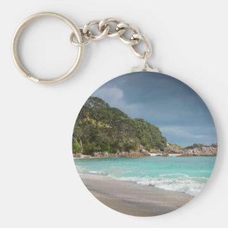 Pohutukawa trees fringe sandy beach basic round button keychain