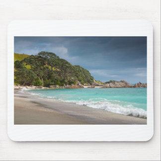 Pohutukawa trees fringe sandy beach mouse pad