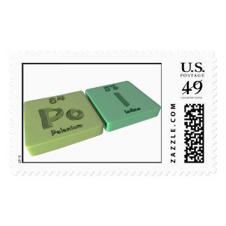 Poi as Po Polonium and I Iodine Stamps