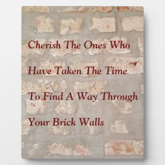 Poignant Cherish Quote Overlayed On Brick Wall Pat Plaque